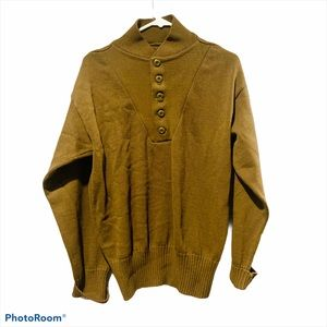 Vintage Brown Military Button Sweater